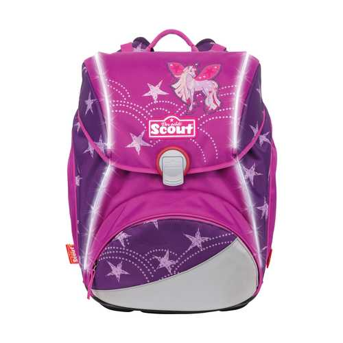 Scout Schulranzen Safety Light Alpha Unicorn Star Frontansicht